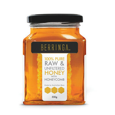 2 x 550g Berringa Raw and Unfiltered Honey with Honeycomb