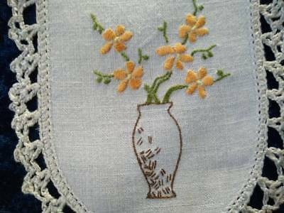 Beautiful Flowers in Vase ~ Vintage Hand embroidered Sandwich Doily