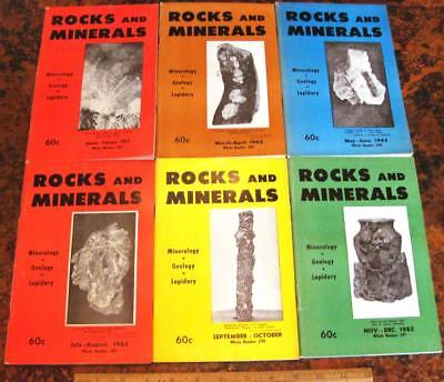 ROCKS & MINERALS MAGAZINES Vol 37 All 6 Issues Complete 1962 Mineralogy Lapidary