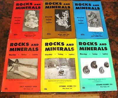ROCKS & MINERALS MAGAZINES Vol 39 All 6 Issues Complete 1964 Mineralogy Lapidary