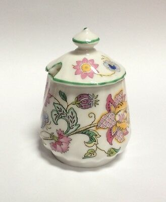 Minton Haddon Hall Green Trim Mustard Jar & Lid