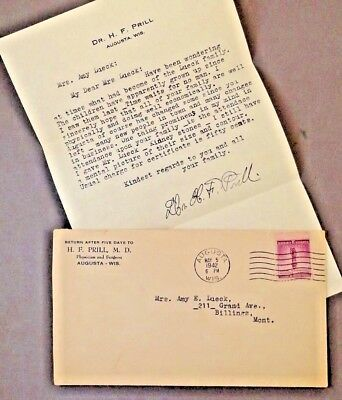 1942 - Dr. H.F. PRILL, M.D. - letter and envelope cover autograph - AUGUSTA, WI