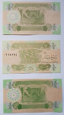 Saddam era 1/4 IRAQI DINAR  note. 3 consecutive notes in mint condition