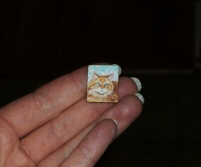 Dollhouse Miniature Painting Ginger Cat Face OOAK Original Art 1:12 TMD
