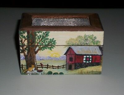 Artist Painted Dollhouse Miniature Trunk Chest Barn Cat Farm OOAK Art 1:12
