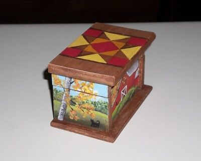 Artist Painted Dollhouse Miniature Trunk Chest Barn Cat Quilt OOAK Art 1:12