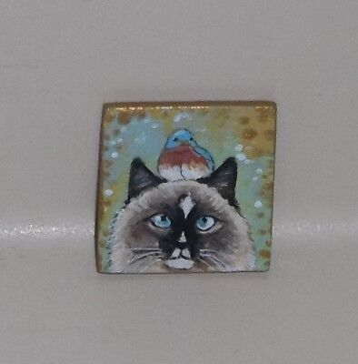 Dollhouse Miniature Painting Ragdoll Cat Bluebird OOAK Original Art 1:12 TMD