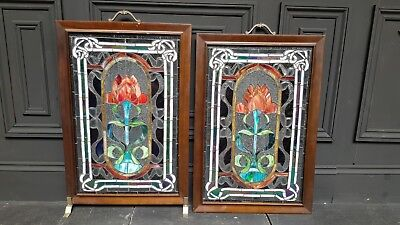 2 x Victorian Flower Stained Glass Panels