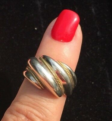 Tiffany & Co Sterling Silver 18Kt Gold Swirl Shrimp Rope Ring Size 5 1/4