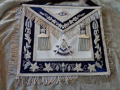 Past Master Silver Bullion Apron Square Masonic Tassels Leather Style Pocket NEW