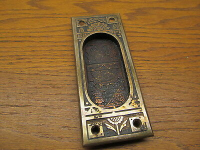 Old Heavy Brass ? Bronze ? Pocket Door Escutcheon..door Plate...ornate Nice