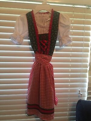 Girls Traditional Octoberfest Dirndl Dress From Germany, New, 3-pc.size 8 y.o.