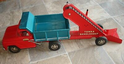 Vintage 1960's Tonka Toys Pressed Steel Dump Truck and Sand Loader Trailer