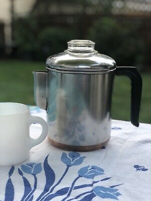 Vintage Revere Wear Percolator, Copper Clad Bottom, 4 -6 Cup, Stovetop, Camping