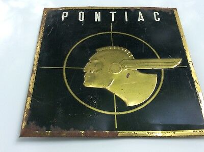 Super Rare PONTIAC TOC Sign. 1930's-40'S-50's black w gold trim. Raised Chief...