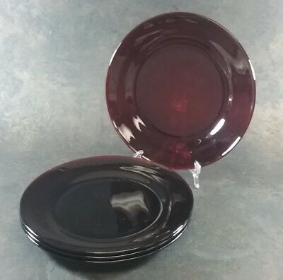 "Ruby Red Glass Dinner Plates 9 1/4"" Set Of 4"