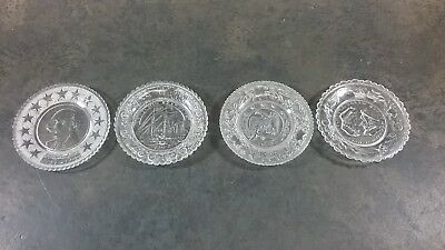 Antique Vintage Eapg Pressed Glass Lot Of 4 Cup Plates Mixed Lot