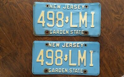 1980's Set of NEW JERSEY Garden State License Plates # 498-LMI Original Tag Pair