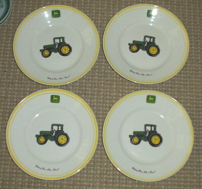 """FOUR John Deere by Gibson Tractor Yellow 9"""" Plates"""