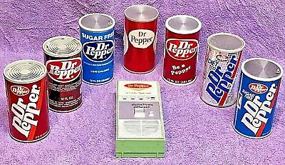 ~(•¿•)~   LOT of 8 VINTAGE ADVERTISING DR. PEPPER TRANSISTOR RADIOS - ALL WORK !