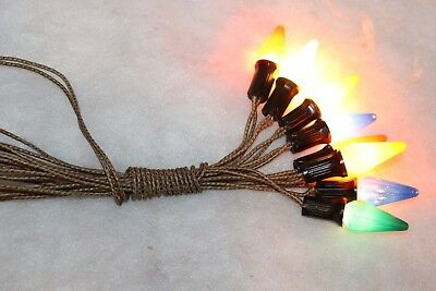 Vintage C6 ClemCo Cloth Christmas 8 Light String Working 11
