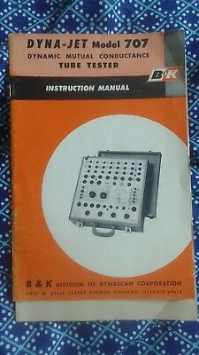 1962 B&K Dyna-Jet 707 Tube Tester Manual, Socket panel chart, tube selector