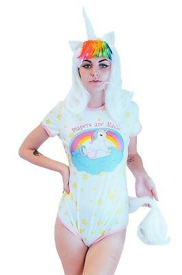 Adult Baby Diaper Lover Snap Crotch Romper Pajamas -Baby Unicorn For big Baby