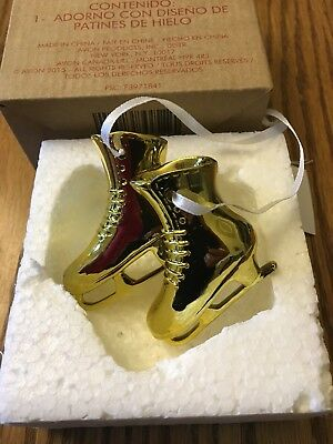 Ornament Pair of Gold Figure / Ice Skates Decoration, Winter, Christmas NEW AVON