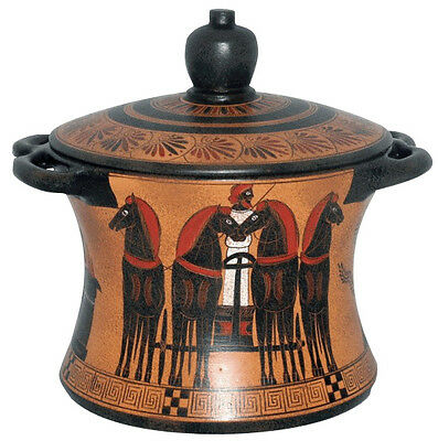 Ancient Greek Pyxis Vase Pottery Museum Replica Reproduction