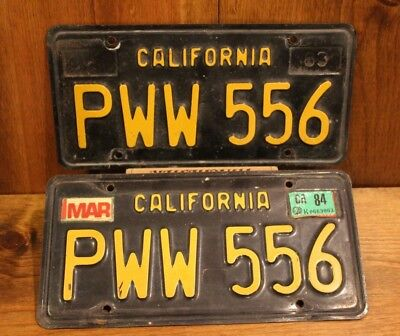 LICENSE PLATE VINTAGE CALIFORNIA PAIR of 1963 PWW 556 CAR TAGS RARE OLD SET