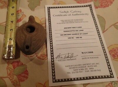 ANCIENT Holy Land Terracotta Roman Oil Lamp 100 BC -100 AD COA