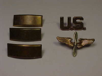 WW2 Meyer Metal US Army Air Force Officer Collar Pins Wings Propeller 2nd Lt Bar