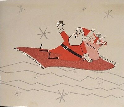 Vintage Mc Atomic Stars Santa On Magic Carpet Advertisement Christmas Card