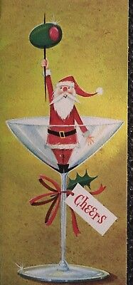 VINTAGE MID CENTURY SANTA w/OLIVE IN A MARTINI GLASS CHEERS CHRISTMAS CARD