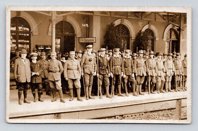 ANTIQUE WW1 Real Photo RPPC Postcard BRITISH SOLDIERS at GERMAN TRAIN STATION