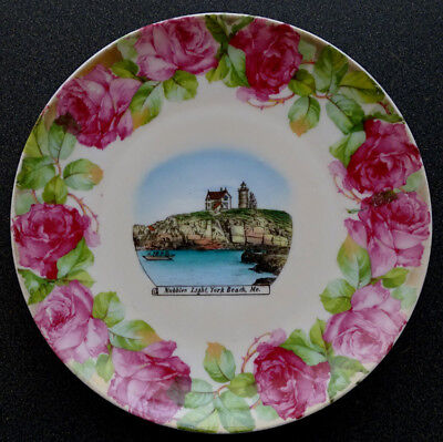 1890's NUBBLE LIGHTHOUSE Antique CAPE NEDDICK York MAINE Souvenir China Plate
