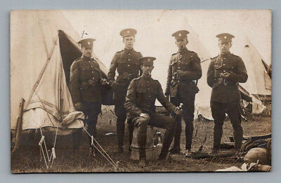 ANTIQUE WW1 Real Photo RPPC Postcard BRITISH SOLDIERS with UNUSUAL HAT BADGE