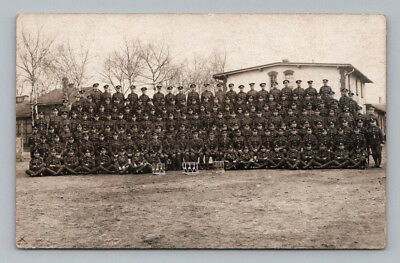 ANTIQUE WW1 Real Photo RPPC Postcard HUGE GROUP of BRITISH SOLDIERS in UNIFORM