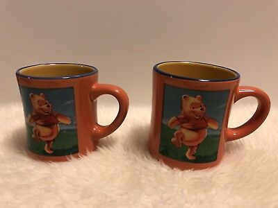 2 Two Winnie The Pooh Coffee Mug Cup The Disney Store Orange Mugs Cups