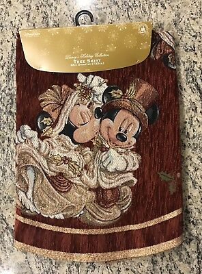 Disney Christmas Tree Skirt Burgundy & Gold Mickey Mouse Minnie Mouse Victorian