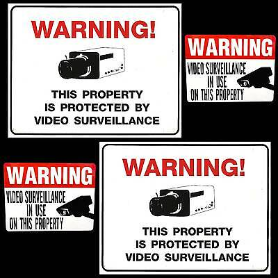 Home Security Video Camera System Alarm Warning Yard Signs+Door Window Stickers