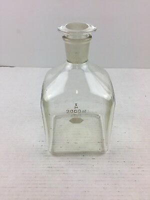 Vintage Pyrex 2000mL Reagent Bottle Ground Neck w/ #34 Solid Glass Stopper  Rare