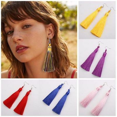 Long Fashion Tassel Earrings- Boho Dangle Tassle Fringe Hook Drop- 9 Colours