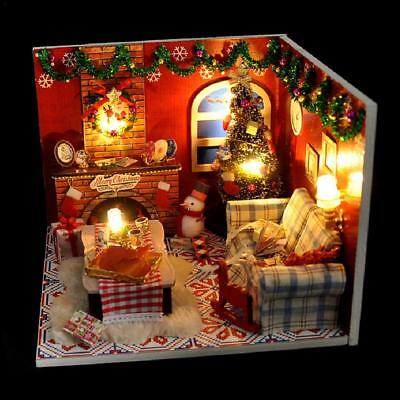 Christmas DIY Wooden Dollhouse Miniature Kit Dolls House W/ Furniture LED Light