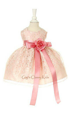 New Baby Flower Girls Pink Rose Dress Lace Design Build Ribbon Color Easter USA