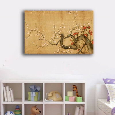 Framed Canvas Prints Stretched Oriental Flower Wall Art Home Decor Painting Gift