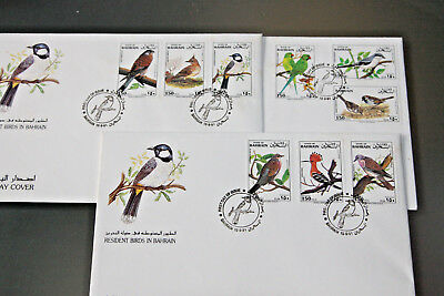 Bahrain 1991 - Resident Birds - Complete Set - On 3 First Day Covers
