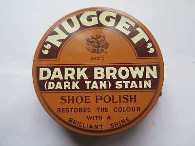 NUGGET DARK BROWN STAIN SHOE POLISH TIN c1950s BOOT or SHOE POLISH