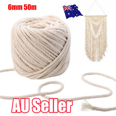 6mm 50m Macrame Rope Natural Beige Cotton Twisted Cord Artisan Hand Craft New EA