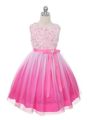 New Fuchsia Hot Pink Flower Girls Dress Easter Christmas Pageant Party KD322